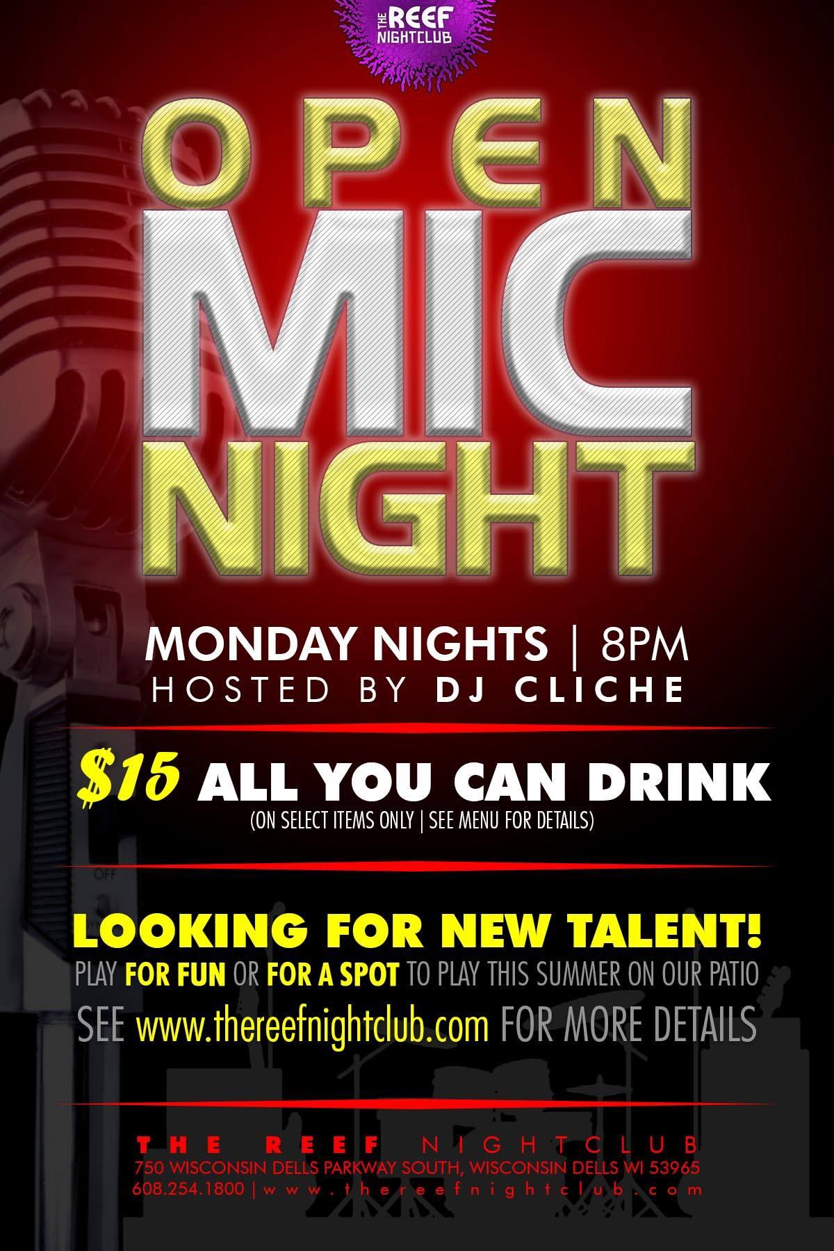 Open Mic Night Talent Search The Reef Night Club